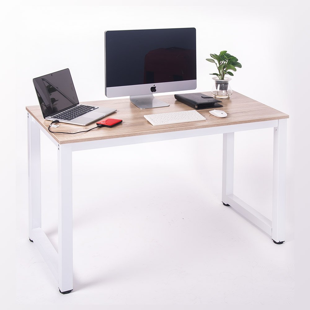 Amazon.com: Merax Modern Simple Design Computer Desk Table Workstation For  Home U0026 Office (White And Oak): Home U0026 Kitchen
