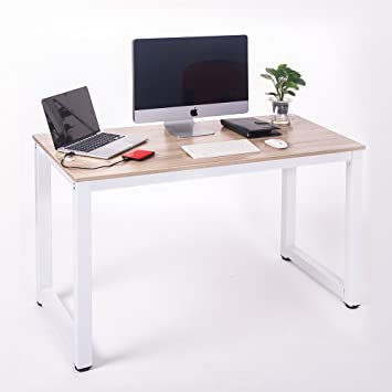 merax modern simple design computer desk table workstation for home u0026 office white and oak