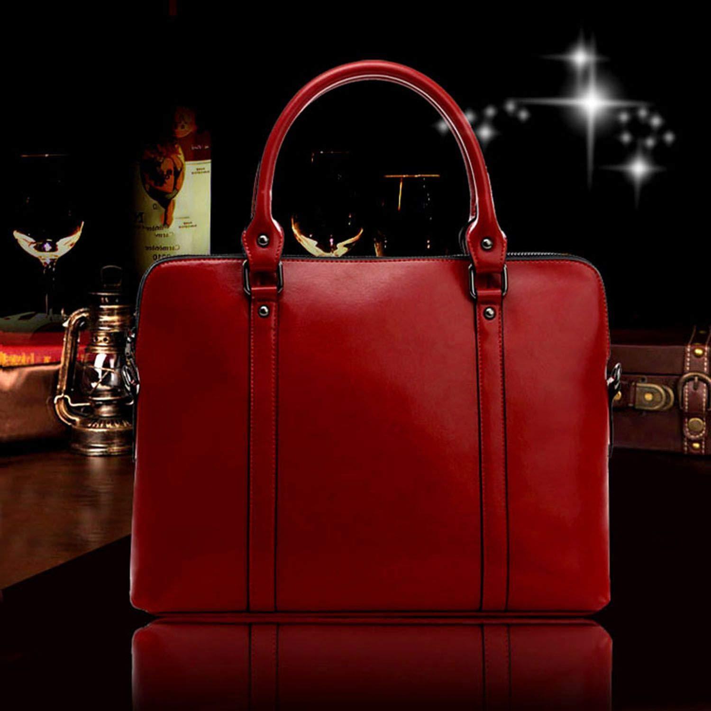 New Womens Bag Genuine Cow Leather Handbags Slim 14-inch Laptop Briefcase Women Shoulder Bags,Black