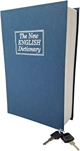 """Book Safe Box Dictionary Diversion Lock Box with Key Closing - Portable Book Safe - Store Money, Jewelry, and Other Documents (Small (7.25"""" x 4.75"""" x 2.25""""), Navy)"""