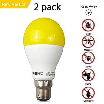 greenic amarillo LED Error Bombilla 9 W (Reemplazo de 60 W), repelente de