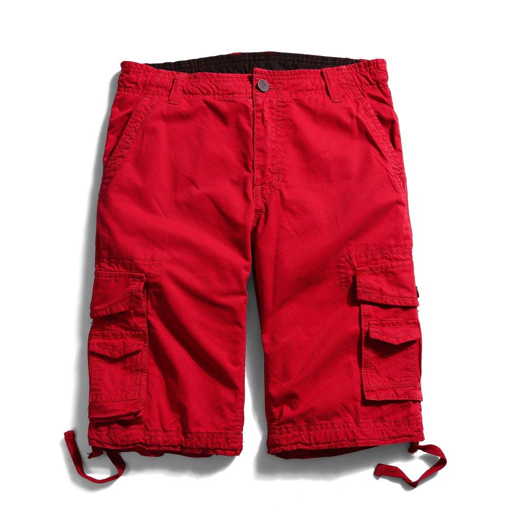 OCHENTA Men's Cotton Casual Multi Pockets Cargo Shorts #3231 Red 32