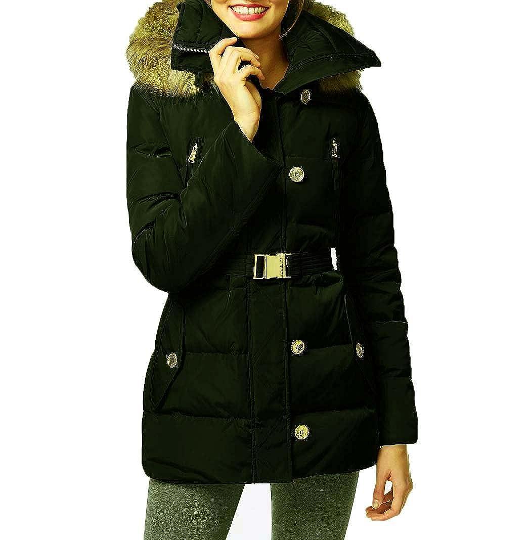 169fa5e9f9a8 Michael Kors Fur Trim Hooded Down Coat - Green -  Amazon.co.uk  Clothing