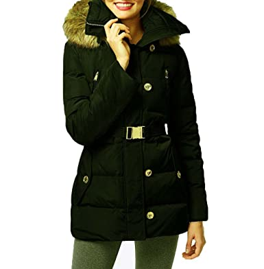 734afcc7803d9 MICHAEL Michael Kors Women s Button Front Belted 3 4 Down w  Faux Fur Dark  Moss Outerwear XL  Amazon.ca  Clothing   Accessories
