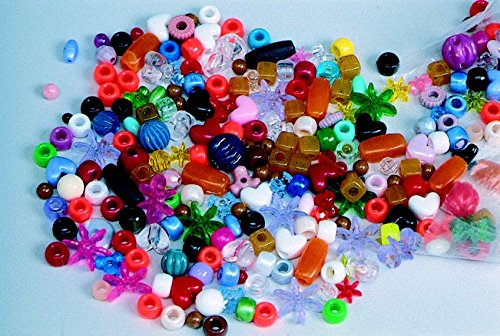 School Smart Assorted Shapes Plastic Bead Mix - 1 pound - Assorted Colors