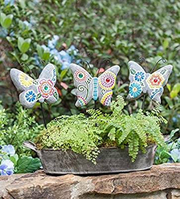 Painted Mosaic Garden Stones, Set of 3