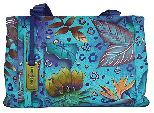 Anuschka Handpainted Leather Double Entry Shopper, Tropical Dream, One Size - Double Entry Shopper