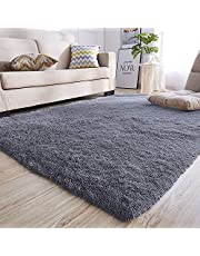 YIQI Huishoudelijke Deken Super Zacht Faux Bont Tapijt voor Slaapkamer Sofa Woonkamer Gebied Tapijten (Grijs, 120 x 60cm)