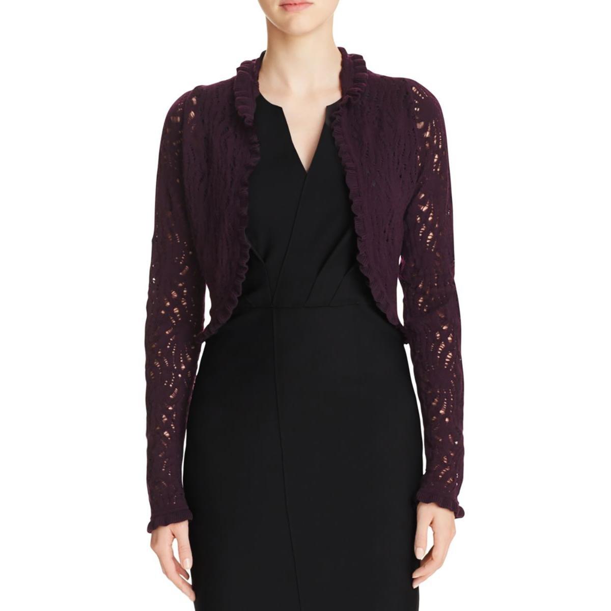 Elie Tahari Womens Carey Merino Wool Ruffled Shrug Purple XS