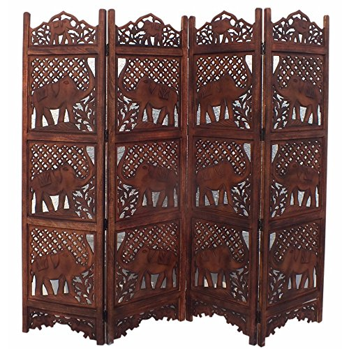 Benzara BM34823 Hand Carved Elephant Design Foldable 4-Panel Wooden Partition Screen/Room Divider, Brown from Benzara