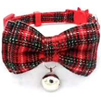 AKDSteel Pet Cat Collar Safety Buckle Bell Christmas Scottish Plaid Cotton Bow Tie Kitten Supply Red S -For Pet