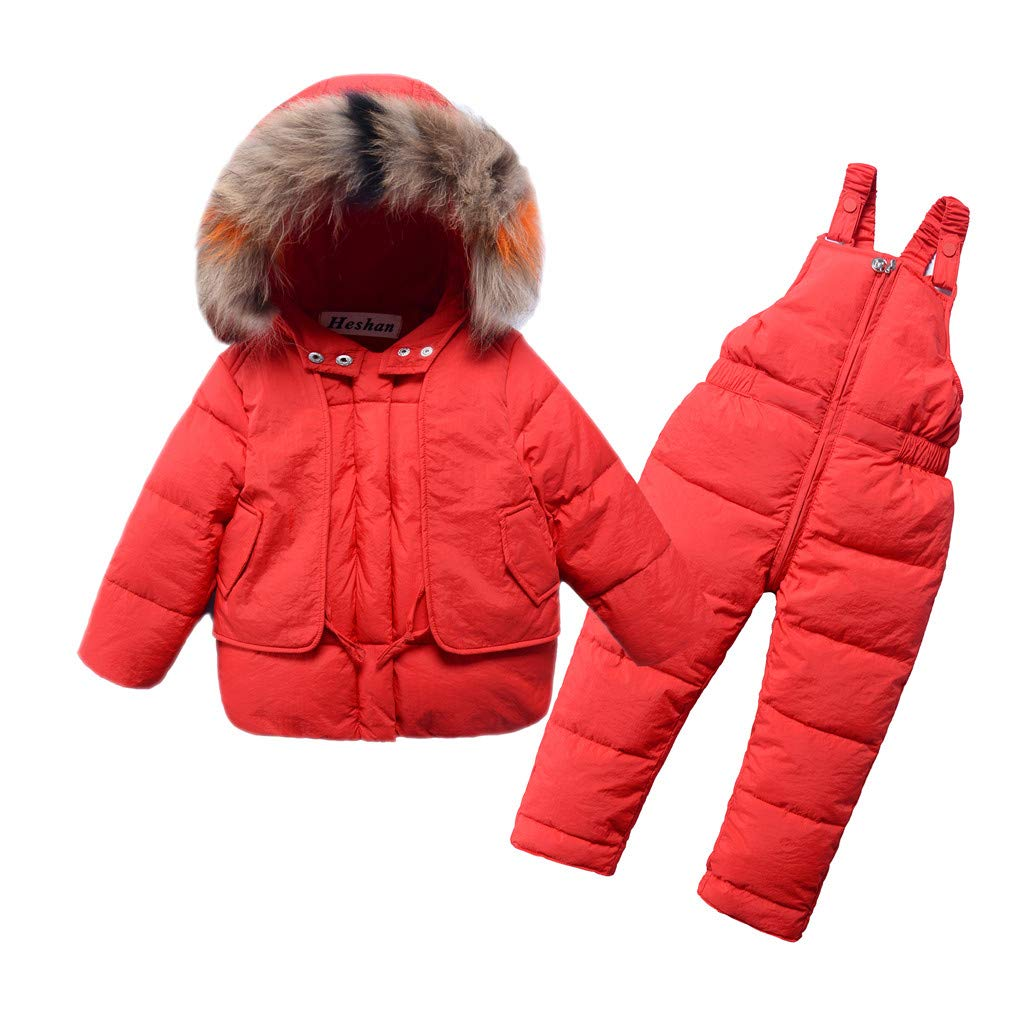 Gallity 3-10 Y Kids Boys Girls Winter Artificial Fur Down Coats Snowsuit Outerwear 2Pcs Clothes Hooded Jacket Snow Ski Bib Pants Outfits Set (3-4 Years, Red) by Gallity Baby Clothes