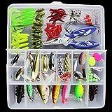 Origlam kit de jeu de leurres de très amusant, kit d'appâts de pêche portable pour eau de mer et eau douce avec boîte d'accessoires, 101pièces