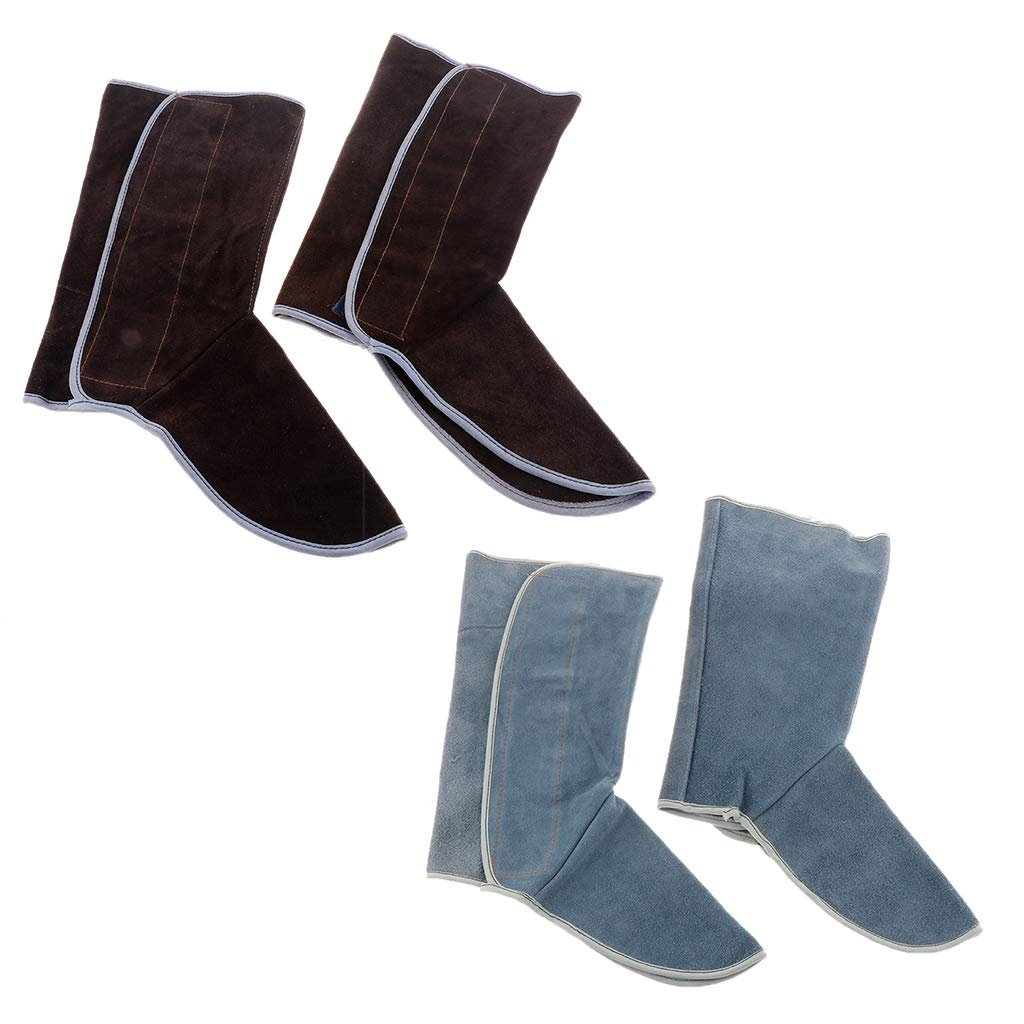 Baosity Heavy Duty Leather Welding Coat Work Apron XXL+ 1Pair Welding Foot Covers - Heat Resistant & Flame Resistant BBQ Apron, Adjustable, Brown by Baosity (Image #9)