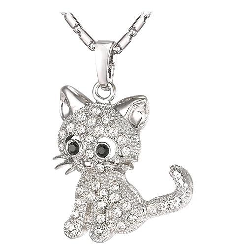 e759eba38b733 U7 Cat Jewelry Women Girls Link Fashion Platinum/18K Gold Plated Rhinestone  Crystal Kitty Cat Pendant Necklace