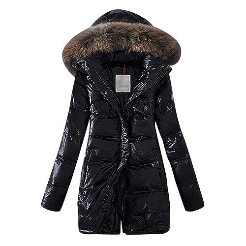 LvRao Mujer - plumifero largo - abrigo plumas con capucha - cierre de cremallera - chaqueta plumon