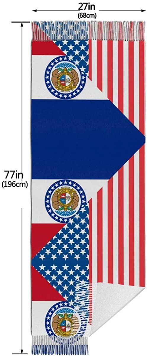 American and Missouri State Flag Cashmere Scarf Shawl Wraps Super Soft Warm Tassel Scarves For Women Office Worker Travel