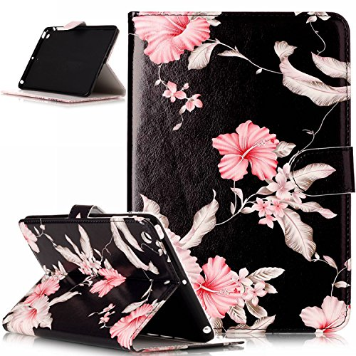Fold Designer Wallet - iPad mini Case,iPad mini 1 2 3 Case,ikasus Painted Marble PU Leather Fold Wallet Pouch Case Wallet Flip Cover Card Slots Stand Protective Case Cover for iPad mini 1 / 2 / 3 ,Black Pink Flower