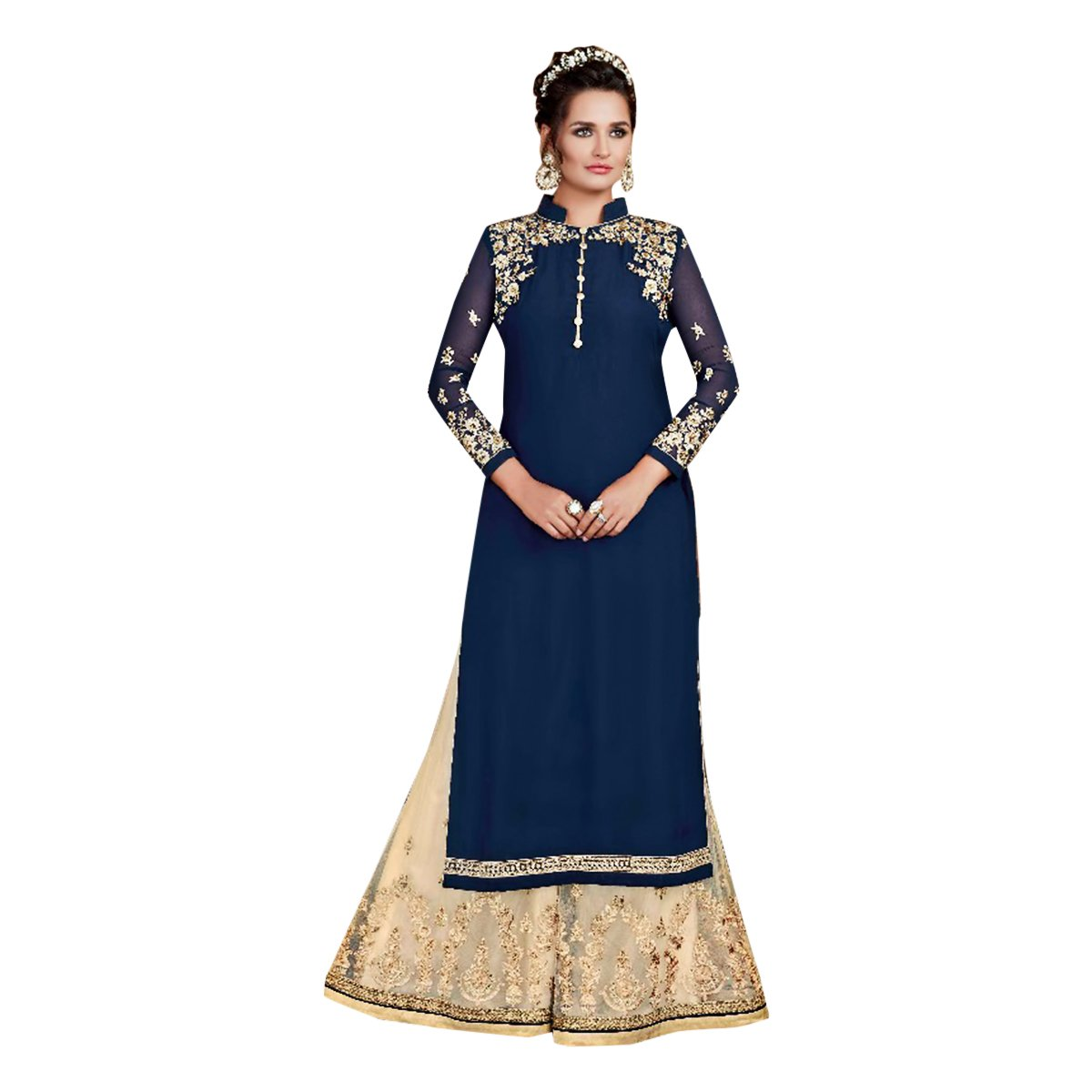 bluee Salwar Suit Palazzo Bollywood Ethnic Wedding Party Wear Women Muslim 632