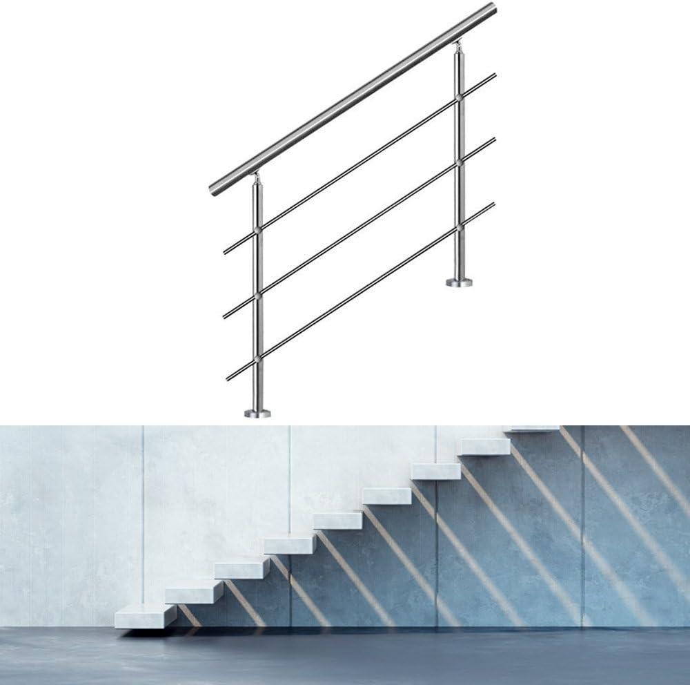 f/ür Terrasse Eingang Innen- und Au/ßenbereich Hengda/® Edelstahl Handlauf Wandhandlauf Eingangsgel/änder Br/üstung Bausatz mit 2 Pfosten,160CM, 3 Querstreben Edelstahl Griff
