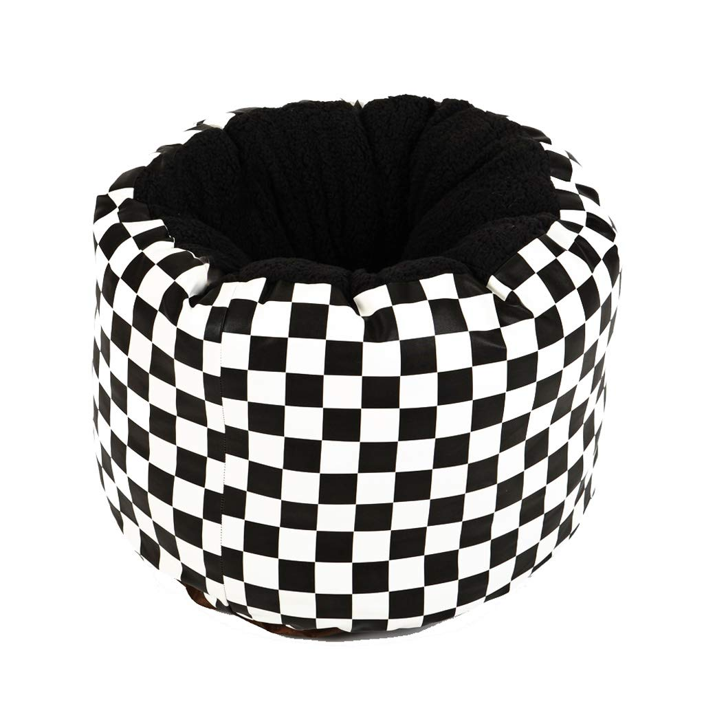 Pet Bed Black And White Lattice Pet Three-dimensional Ring Shape Four Seasons Universal Small Cotton Wool Warm Dog Cat Litter Summer 35cm35cm36cm UOMUN