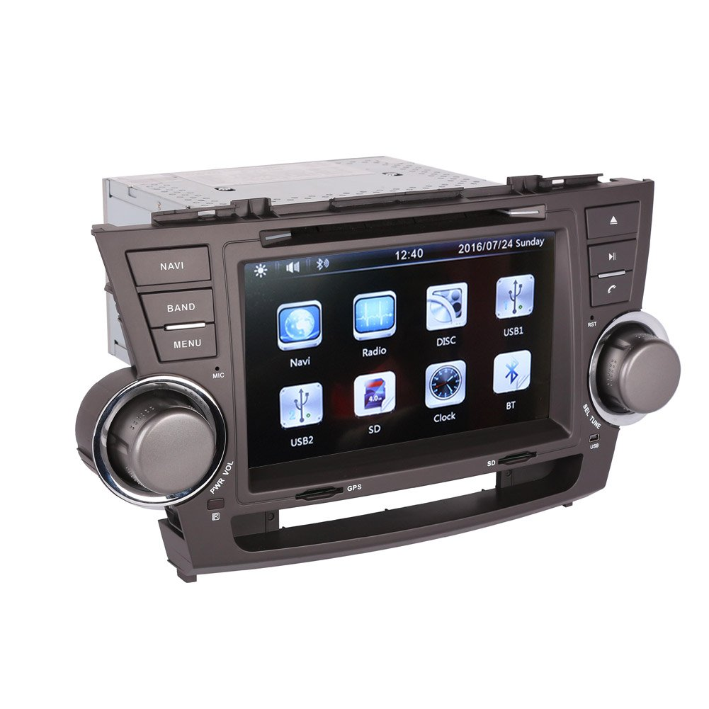 Amazon.com: 8 Inch Touch Screen Car GPS Navigation for TOYOTA HIGHLANDER  2008-2013 Stereo DVD Player Video Radio Audio Bluetooth Steering Wheel  Control AUX ...