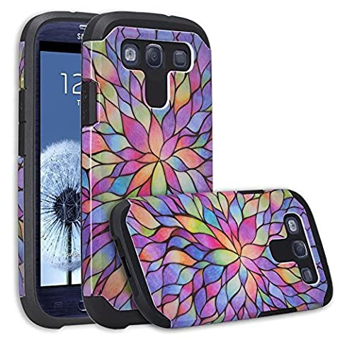Galaxy S3 Case - Wydan Slim Hybrid Shock Resistant Absorbant Tough Hard Phone Case Shock Resistant Cover - Rainbow Flower for Samsung Galaxy S3 (Galaxy S3 Phone Cases Samsung)