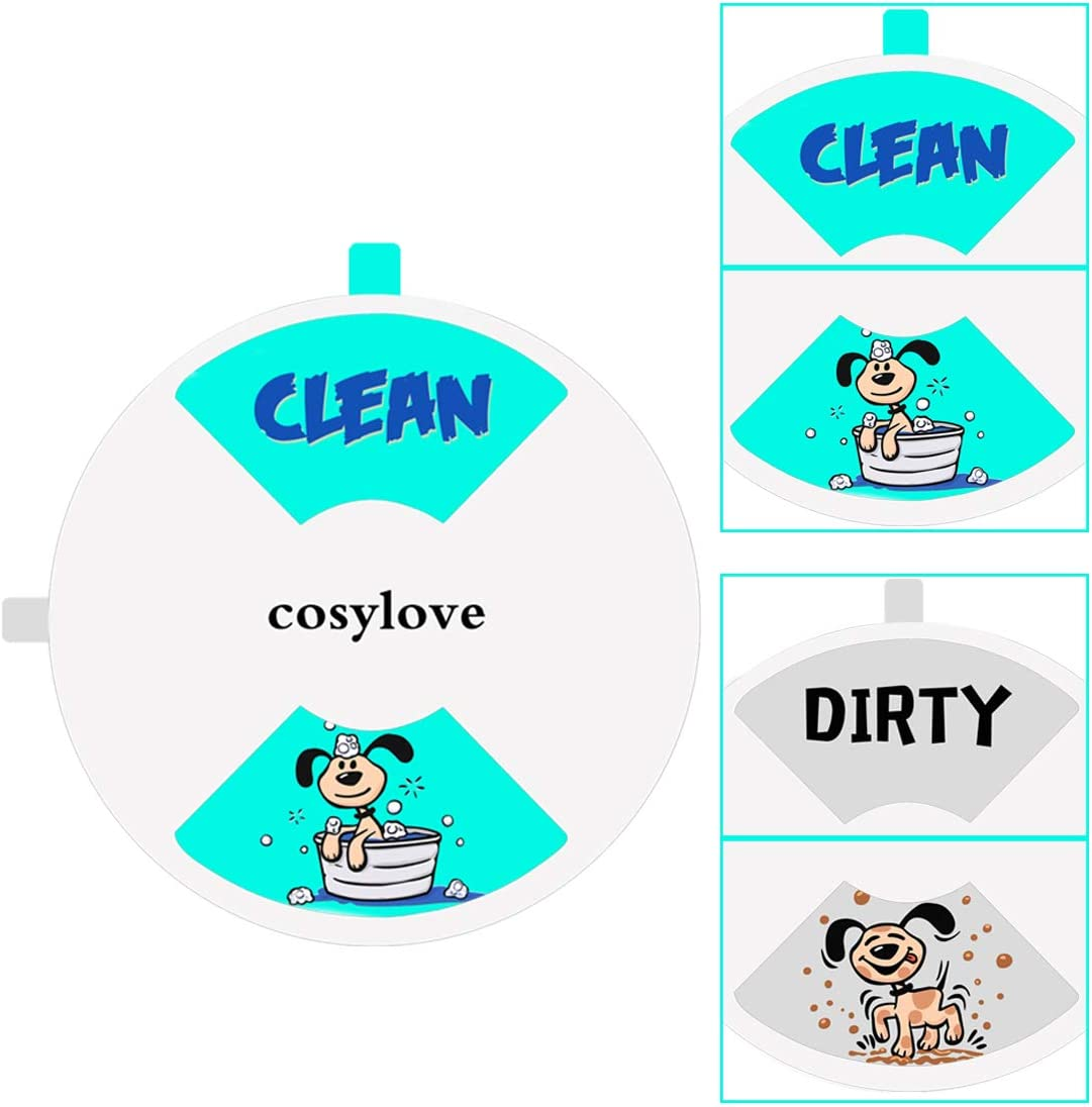 """Clean Dirty Dishwasher Magnet, Round Non-Scratching Magnetic Dishwasher Sign Cute Doggy Pattern Design Kitchen Addition Sliding Dirty Clean Sign Indicator, 4"""" Diameter, White"""