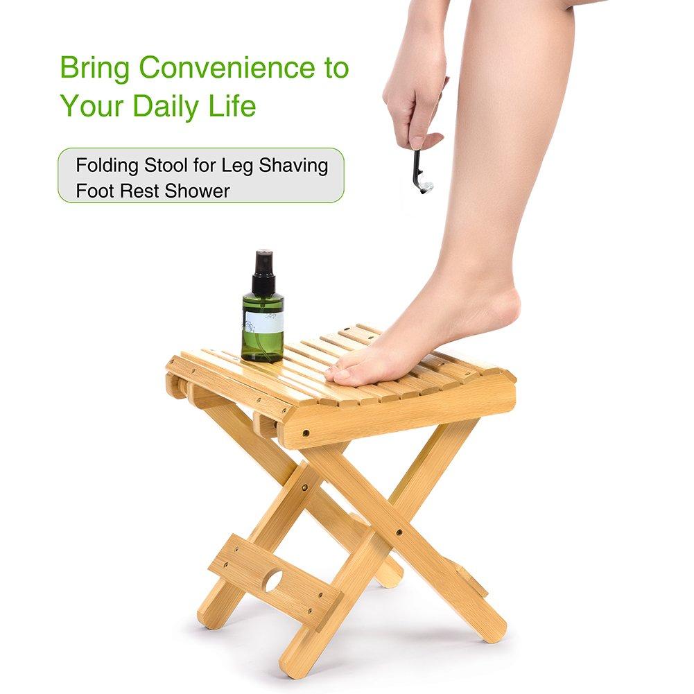 Bamboo Folding Stool for Leg Shaving Foot Rest Portable Streamline Fishing Camping Chair Folding Kitchen Stool