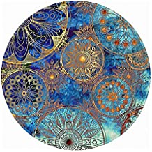 Round Rug, LEEVAN Popular Non-Slip Backing Machine Washable Round Area Rug Foam Mat Living Room Bedroom Study Super Soft Carpet Floor Mat Home Decor 3-Feet Diameter, Blue Bohemia