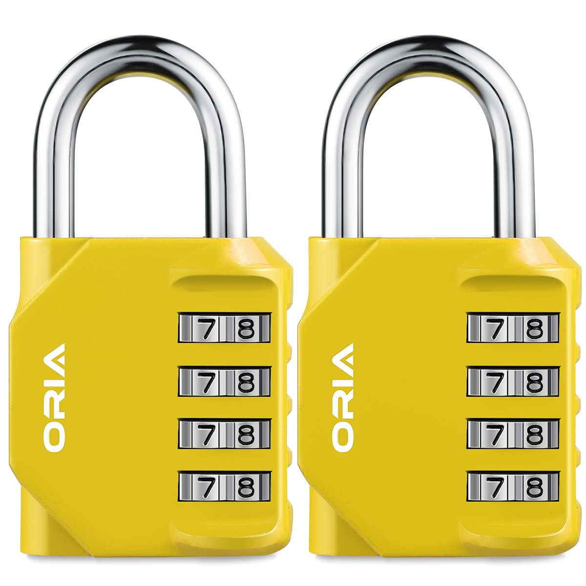 Oria 2 Pack Combination lock, 4 Digit PadLock, Resettable Security Locks, Anti Rust and Waterproof Silver for School, Employee, Gym & Sports Locker, Toolbox, Filing Cabinets etc. (Yellow)