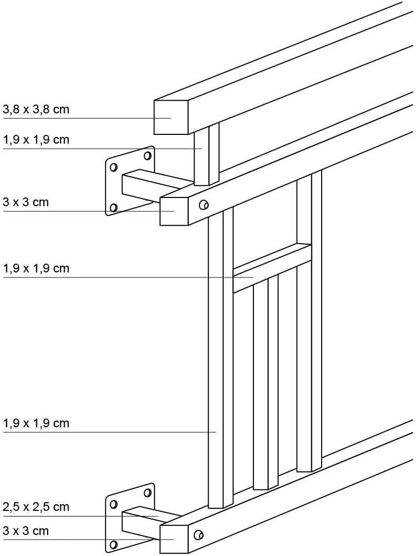 balustrade de balcon effet bois en acier anthracite mat ECD Germany Balcon fran/çais 100 x 90 cm