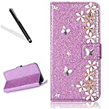 Diamand Case for Huawei P20,Bling Glitter Folio Case for Huawei P20,Leeook Luxury Noble Sparkle Shining Purple Butterfly Flower Pattern PU Leather Wallet Flip Case in Book Style with Card Slots Cash Holder Stand Function Butterfly Magnetic Closure TPU Silicone Inner Protect Cover for Huawei P20 + 1 x Black Stylus