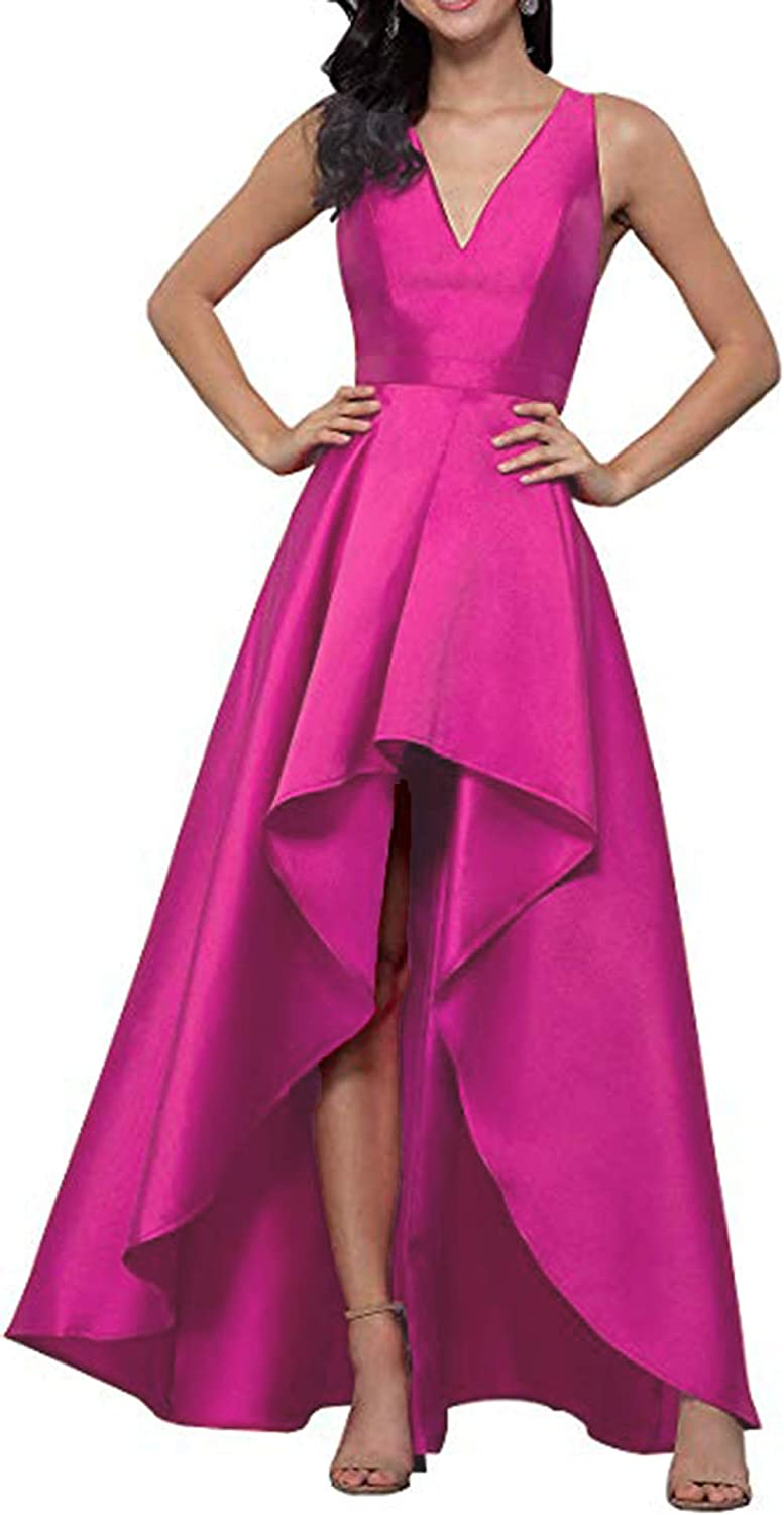 Hot Pink Rmaytiked Womens V Neck High Low Prom Dresses Long 2019 Satin A Line Formal Evening Ball Gowns with Pockets