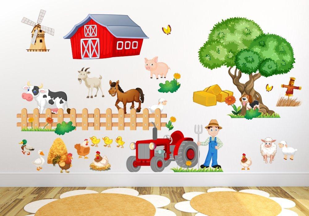 020 Wandtattoo Kinderzimmer Bauernhof niedliche Tiere Traktor Farm ...