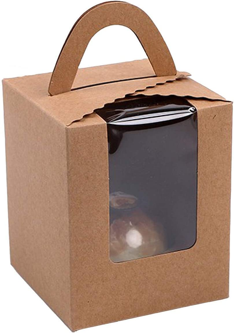 25 Pcs Single Brown Kraft Paper Cupcakes Containers Gift Boxes with Window Inserts Handle for Wedding Candy Boxes