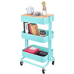 3-Tier Metal Utility Rolling Cart Storage Organizer with Cover Board for Office Home Kitchen Organization, Turquoise