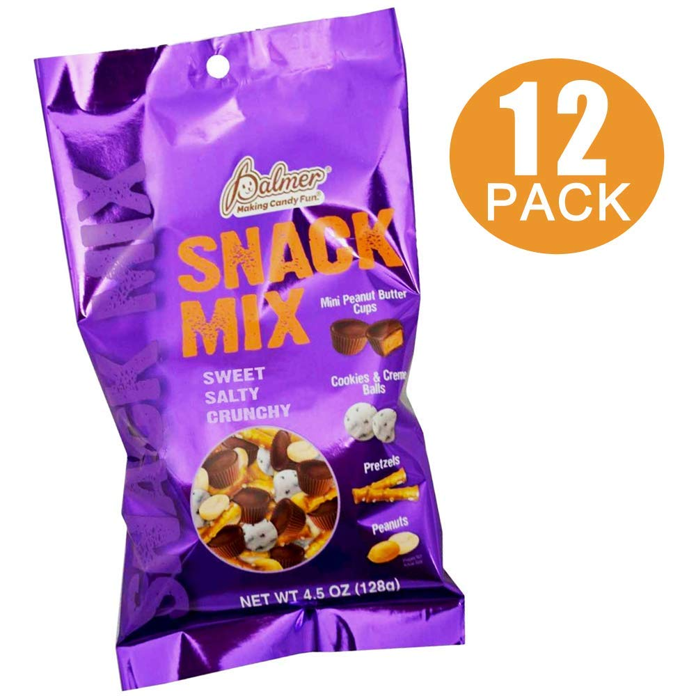 R.M. Palmer Snack Mix - Gourmet Bulk Deal of Premium Trail, Candy, & Variety Party Mixes - with Chocolate Peanut Butter Cups, Pretzels, Cookies & Cream, and Peanuts (12 bags of 4.5 oz each) by PALMER