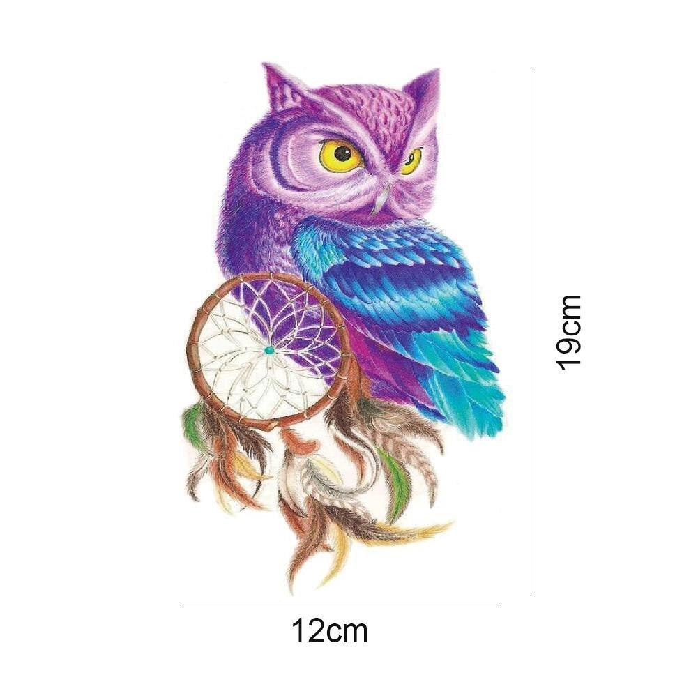 JaneDream 1 Sheet Large Owl Tattoo Sleeve Flash Temporary Arm Sticker Waterproof Henna Women Body Art DIY Tool 12x19cm by Janedream (Image #3)