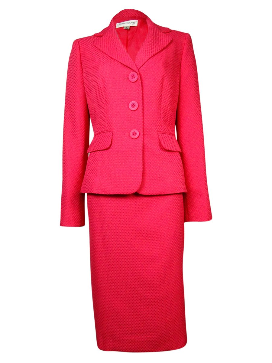 Evan Picone Solid Textured Two Piece Career Women's Skirt Suit Pink 14