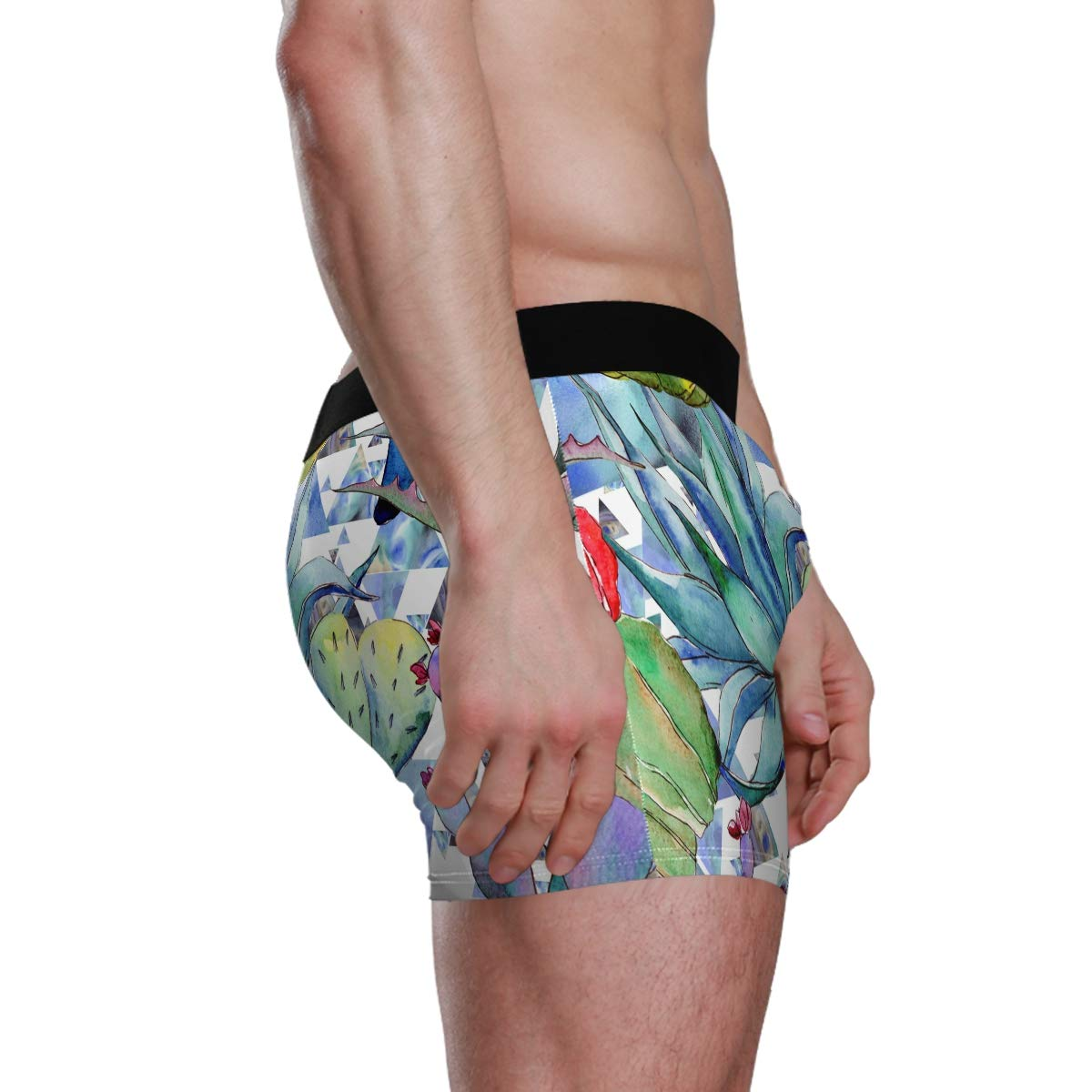 Vipsk Seamless Stretch Mens Polyester Boxer Briefs Underwear 1-Pack Set Tropical Plants Watercolor