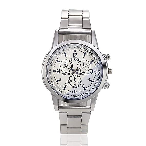 New Geneva - Reloj de pulsera con tres ojos, correa de acero inoxidable para mujer