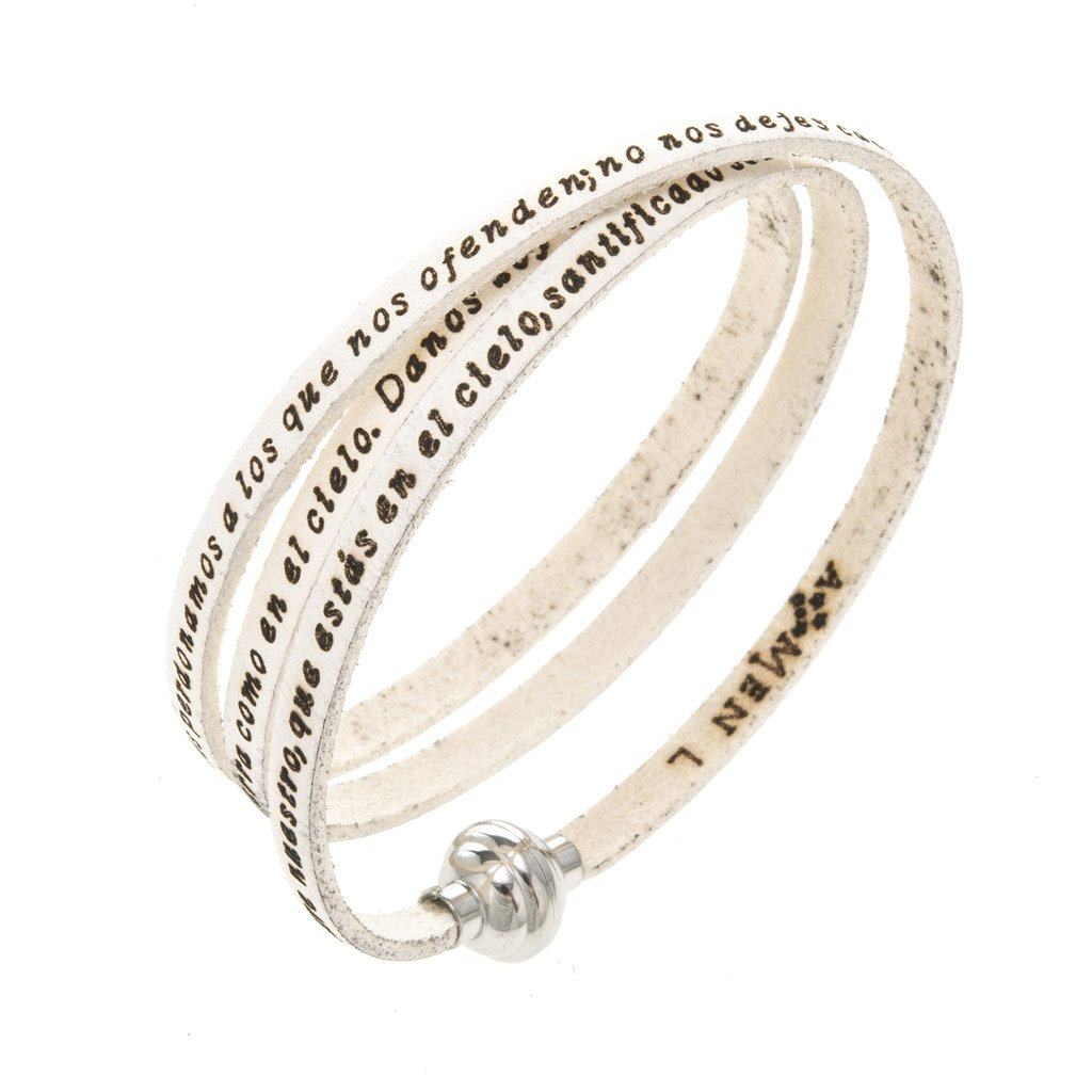 Holyart Amen Bracelet in white leather Our Father SPA, 60 cm (23.64 inc.)