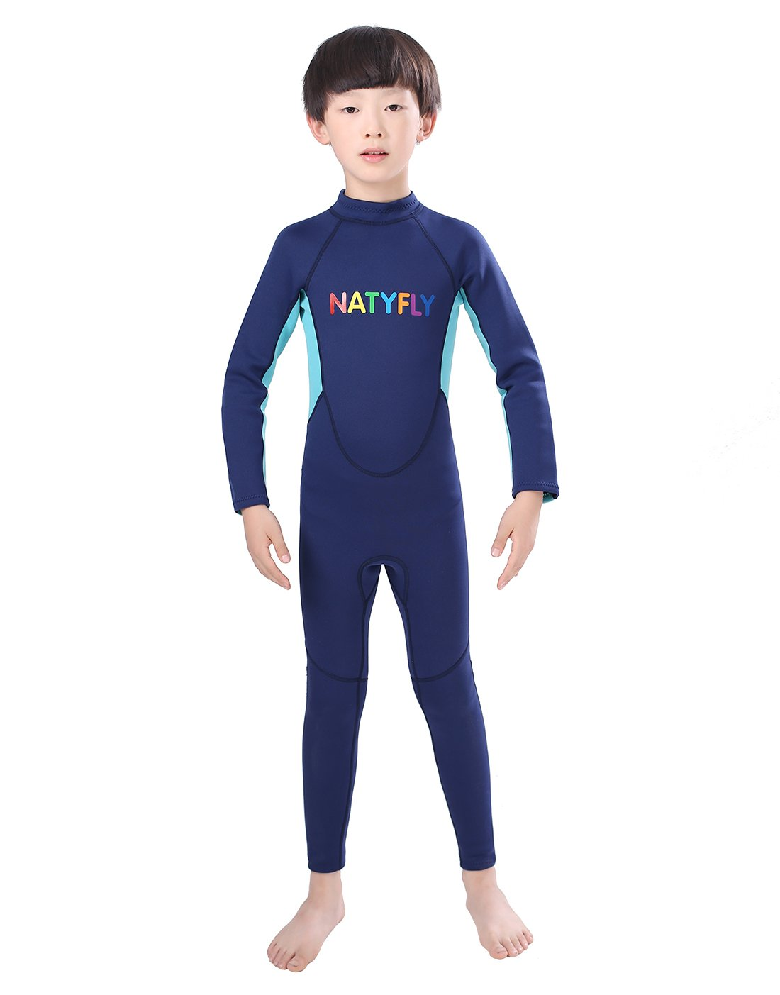 NATYFLY Neoprene Wetsuits for Kids Boys Girls Back Zipper One Piece Swimsuit UV Protection Blue-2mm-Long Sleeve, S-for Height 32''-37''