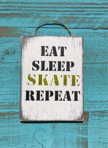 C B Signs L.E.D. Eat Sleep Skate Repeat Ice Skating Ice Hockey Figure Skating Sign Gift Teen Room Decor Skating Gift Deck Skateboard Art Roller (Ice Led Sign)