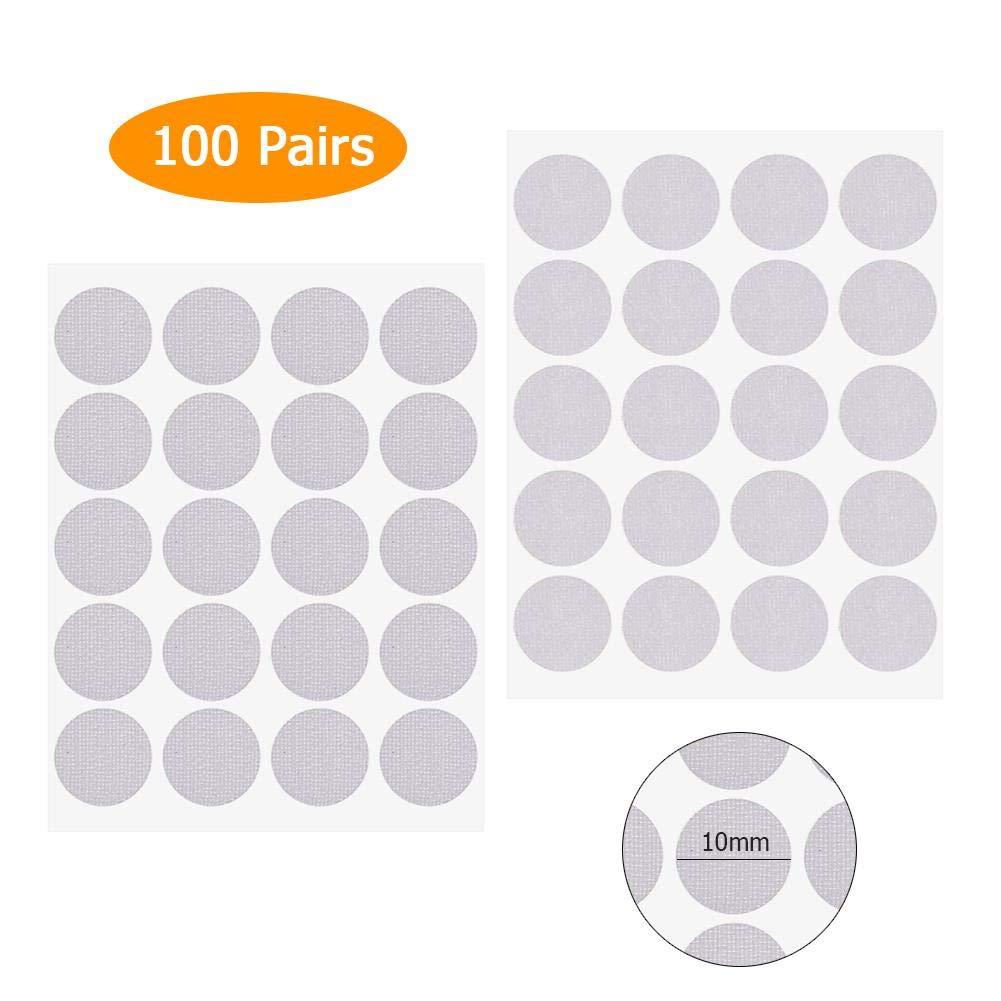 in nylon colore: bianco 10 mm Matefielduk rotondo in velcro monete e puntini adesivi autoadesivo 100 paia Adesivo rotondo per monete