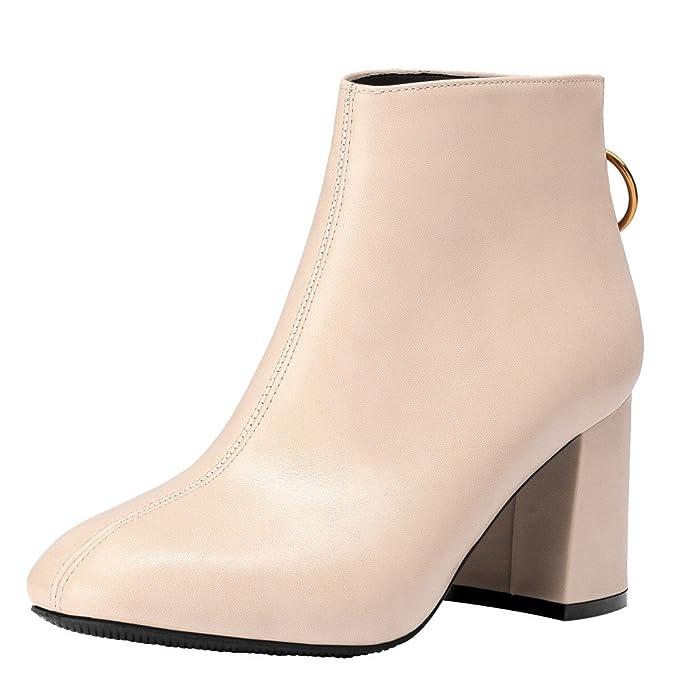 ❤️Cremallera Tacones Altos Botas Mujeres, Mujeres de la Moda británica Cabeza Cuadrada Botas Ocasionales Cremallera Zapatos de Tacones Altos Gruesos ...