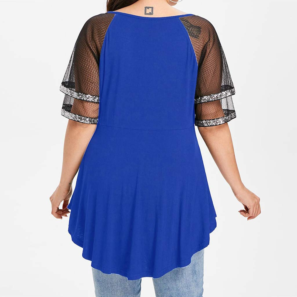 TIFENNY Fashion Summer Loose Shirt for Womens Plus Size Glittery Mesh Short Sleeve V-Neck Sparkly Sequin T-Shirt Tops Blouse