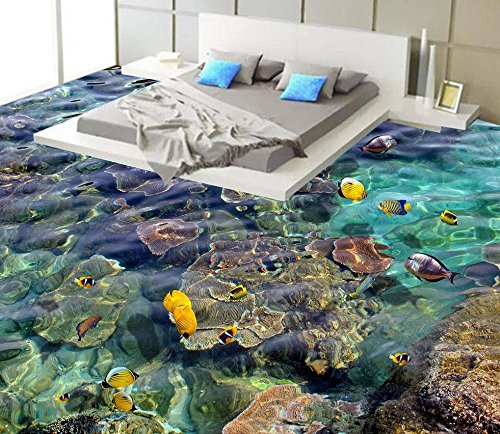 LWCX Waterproof Floor Mural Painting Sea World Self-Adhesive 3D Floor Wallpapers Home Decoration 200X160CM