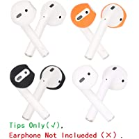 JNSA [Fit in The Case] Ear Tips Covers Gels Buds for AirPods, AirPod Cover Earbuds Eartips Tips 4 Color 4 Pairs Set, Super Thin Soft Silicone, Support Charge with Tips on, AirPods Tip 4c